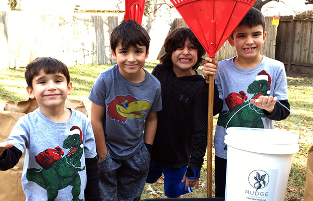 kids helping with local business nudge compost in wichita kansas
