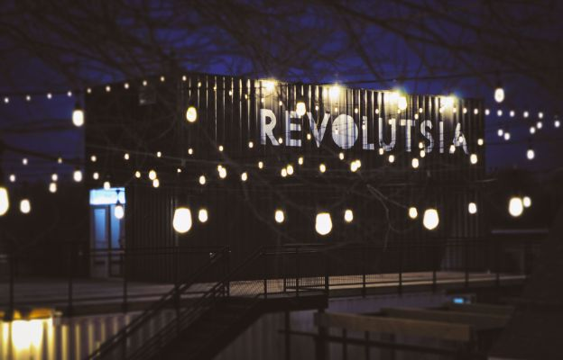 night view of revolutsia, outdoor shipping container mall in wichita kansas