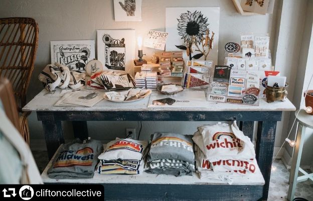 shopping for shirts, jewelry and prints at clifton collective in wichita kansas