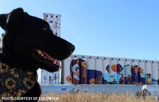 black dog at horizontes mural in wichita kansas